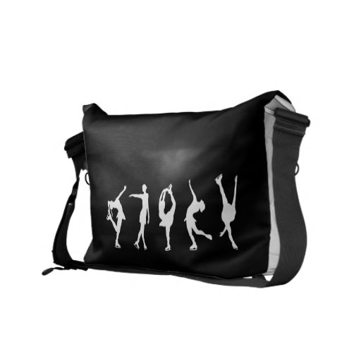 Figure Skaters, Add Name, PURPLE Courier Bags