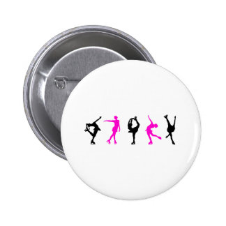 figure skaters  hot pink & black 6 cm round badge