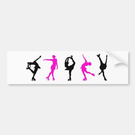 figure skaters  hot pink & black bumper stickers