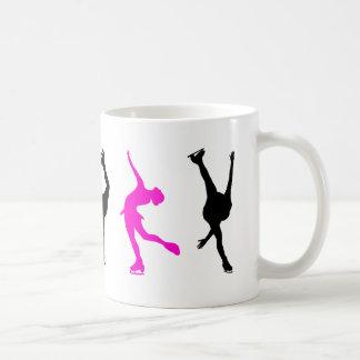 figure skaters  hot pink & black coffee mug