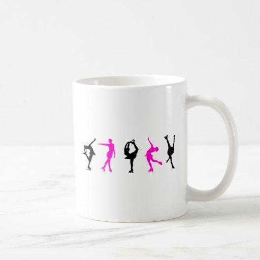figure skaters  hot pink & black mugs