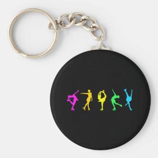 Figure Skaters Neon Pastel Rainbow Basic Round Button Key Ring