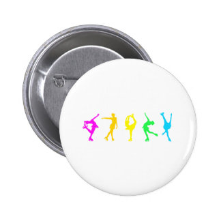 figure skaters neon rainbow 6 cm round badge