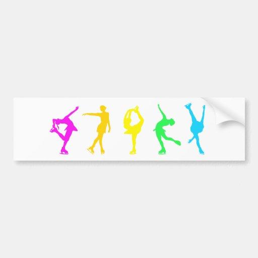 figure skaters neon rainbow bumper sticker