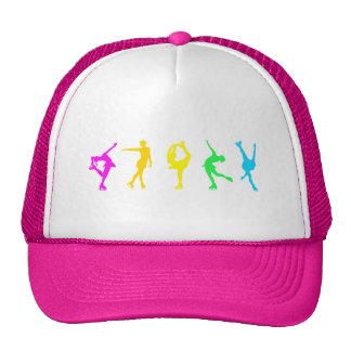 figure skaters neon rainbow trucker hats