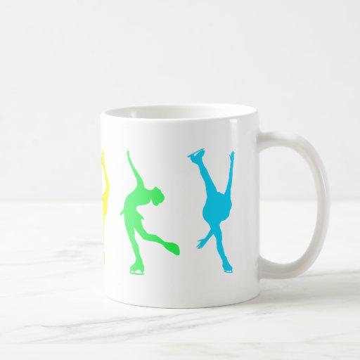 figure skaters neon rainbow mugs