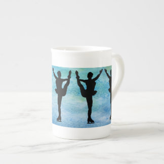 Figure Skaters on Blue Bone China Mug