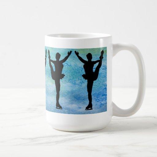 Figure Skaters on Blue Coffee Mugs