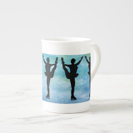 Figure Skaters on Blue Porcelain Mug