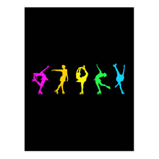Figure Skaters Pastel Rainbow Postcard