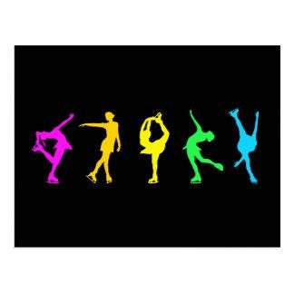 Figure Skaters Pastel Rainbow Postcard