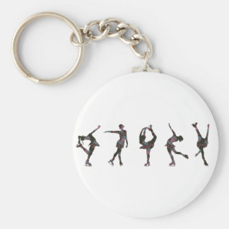 Figure Skaters, Pink, Gray Pattern Basic Round Button Key Ring