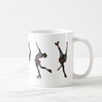 Figure Skaters, Pink, Gray Pattern Basic White Mug