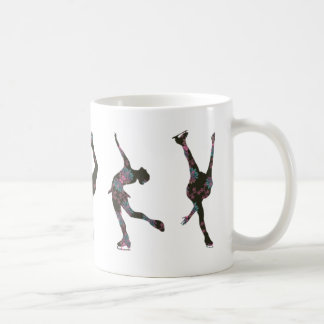 Figure Skaters, Pink, Gray Pattern Coffee Mug