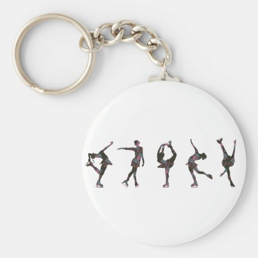 Figure Skaters, Pink, Gray Pattern Keychain