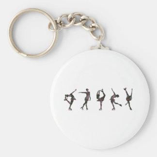 Figure Skaters, Pink, Gray Pattern Key Ring