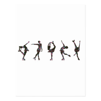 Figure Skaters Pink Gray Pattern Post Cards