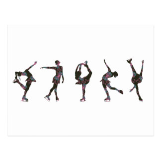 Figure Skaters, Pink, Gray Pattern Post Cards