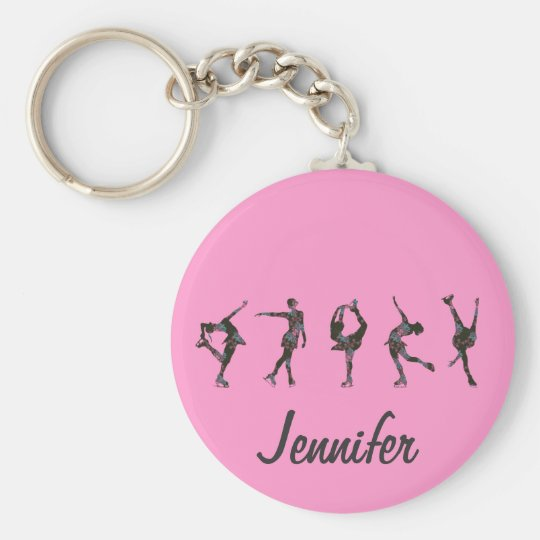 Figure Skaters, Pink, Grey Personalise Basic Round Button Key Ring