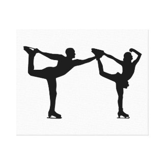 Figure skating couple stretched canvas print