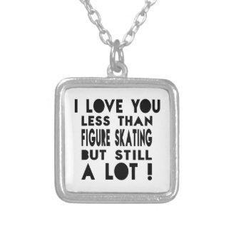 Figure Skating Designs Square Pendant Necklace