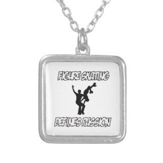 figure skating designs silver plated necklace