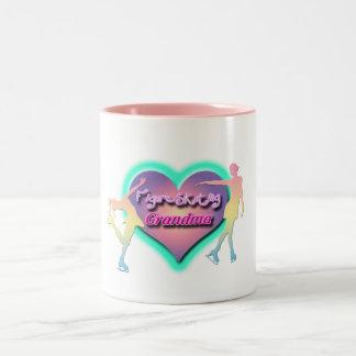 figure skating grandma pastels Two-Tone mug