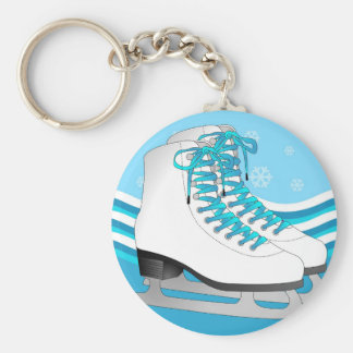 Figure Skating - Ice Skates Blue with Snowflakes Basic Round Button Key Ring