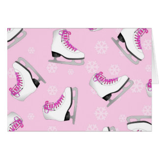 Figure Skating - Ice Skates Pink with Snowflakes Card