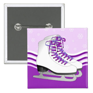 Figure Skating - Ice Skates Purple with Snowflakes 15 Cm Square Badge