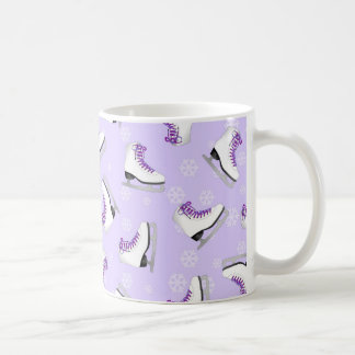 Figure Skating - Ice Skates Purple with Snowflakes Coffee Mug