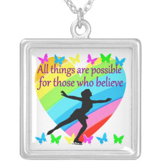 FIGURE SKATING INSPIRATIONAL QUOTE DESIGN SQUARE PENDANT NECKLACE