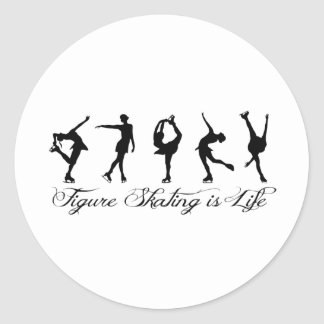 Figure Skating is Life - Script & Skaters Round Sticker