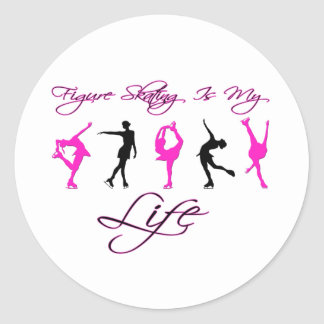 Figure Skating is My Life - PINK & BLACK Classic Round Sticker