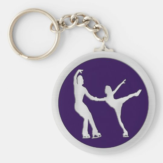 Figure Skating Pair Basic Round Button Key Ring