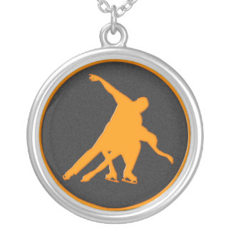 Figure Skating Pair Round Pendant Necklace