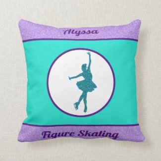 Figure Skating Purple / Turquoise Throw Pillow