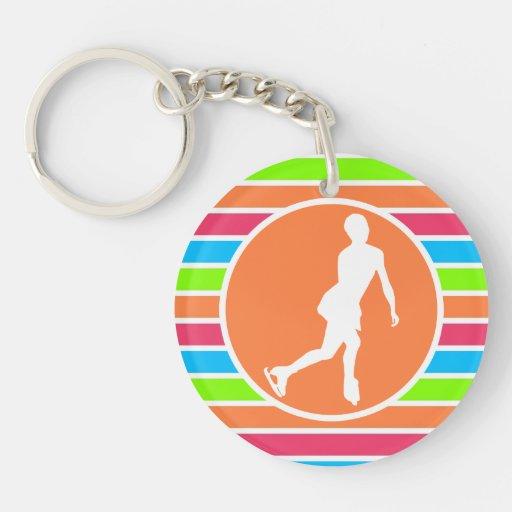 Figure Skating; Retro Neon Rainbow Acrylic Key Chains