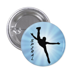 Figure Skating Spiral Silhouette Award Button