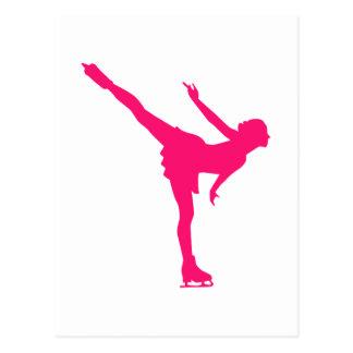 Figure skating woman post card