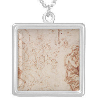 Figure Studies for a Woman Silver Plated Necklace