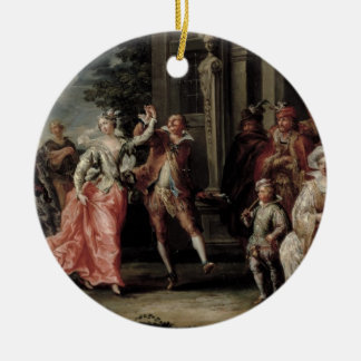 Figures Dancing Outside a Palace (pair with 59640) Round Ceramic Decoration