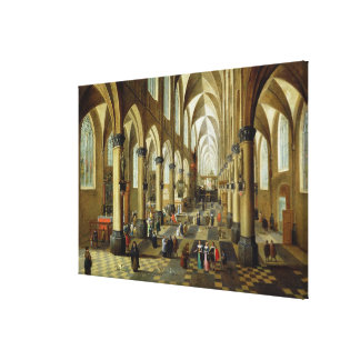 Figures gathered in a Church Interior Canvas Print