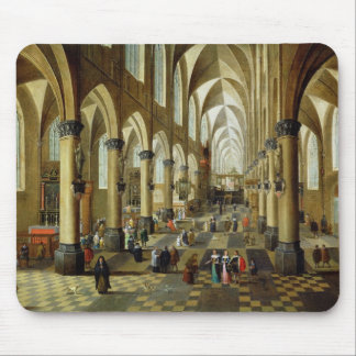 Figures gathered in a Church Interior Mouse Mat