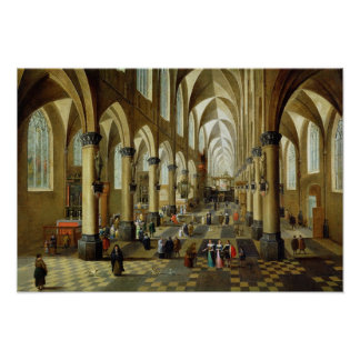 Figures gathered in a Church Interior Poster