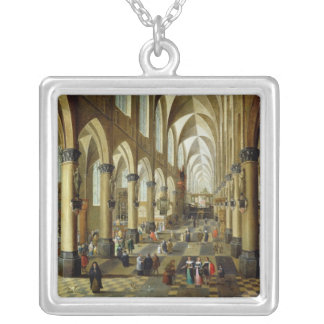 Figures gathered in a Church Interior Silver Plated Necklace