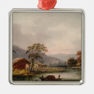Figures Guiding a Sampan Round a Bend in a River, Christmas Ornament