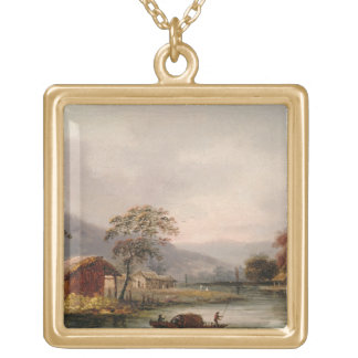 Figures Guiding a Sampan Round a Bend in a River, Gold Plated Necklace