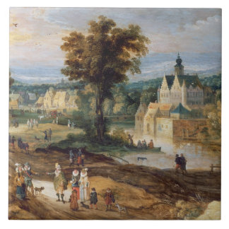 Figures in a landscape with village and castle bey large square tile