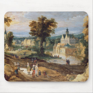 Figures in a landscape with village and castle bey mouse pad